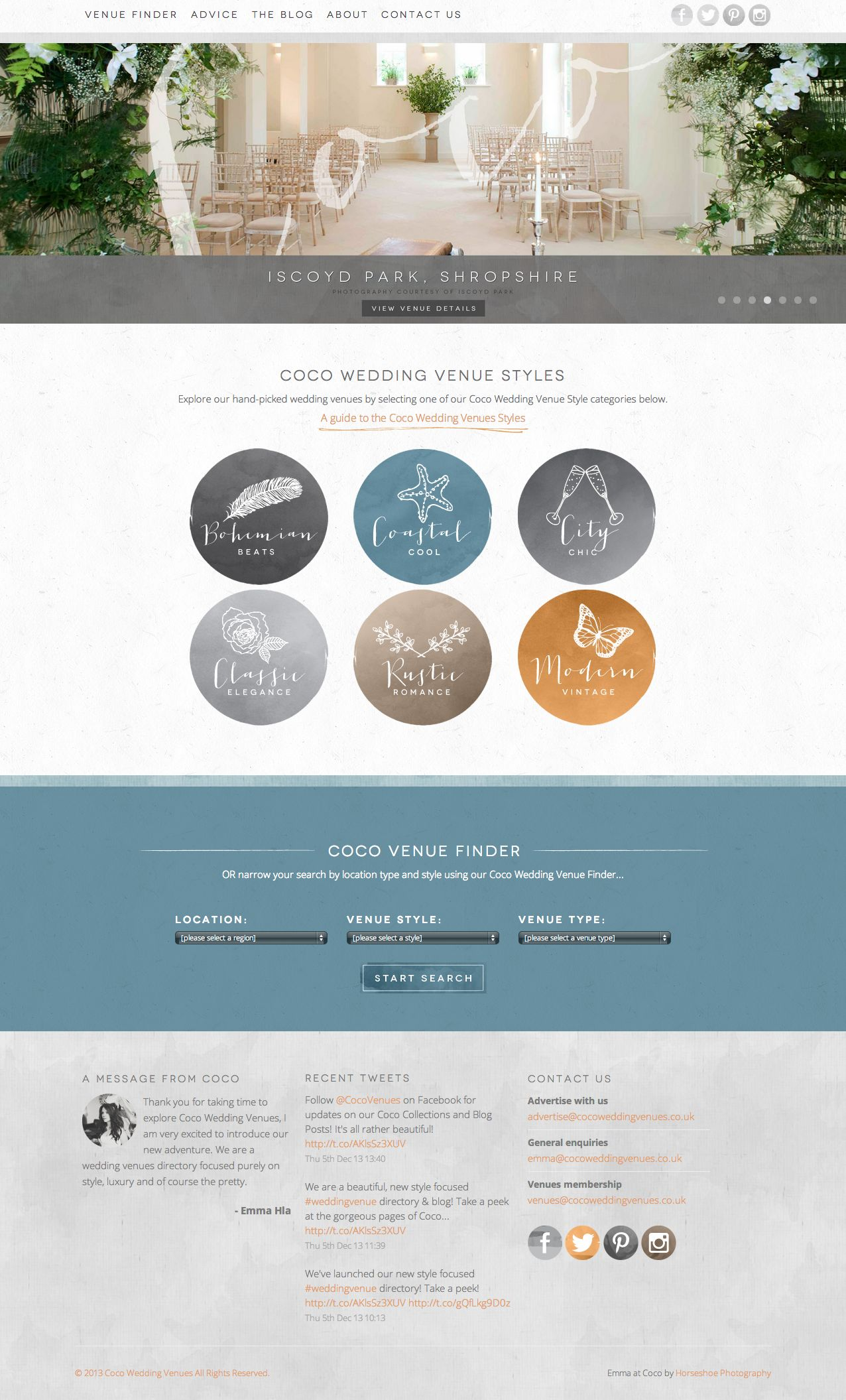 Coco Wedding Venues Homepage.
