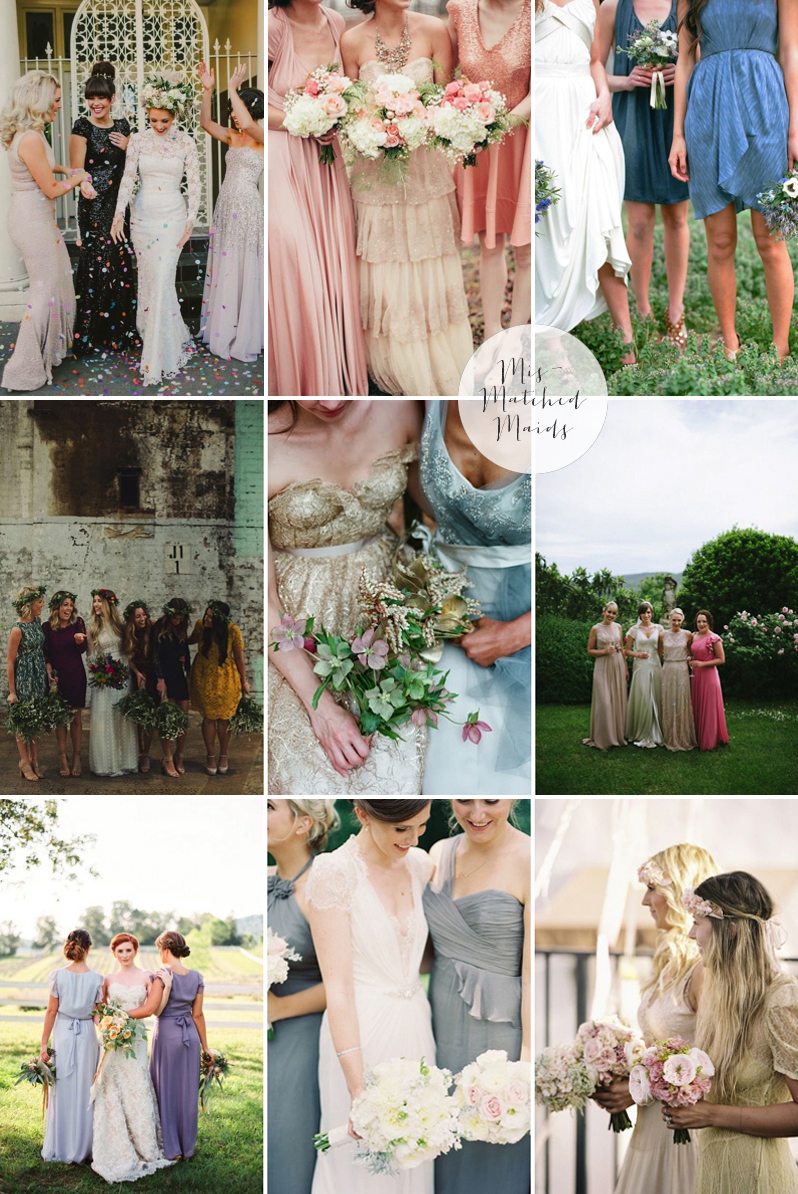Coco Wedding Venues - 2014 Wedding Trends - Mismatched Maids Moodboard.