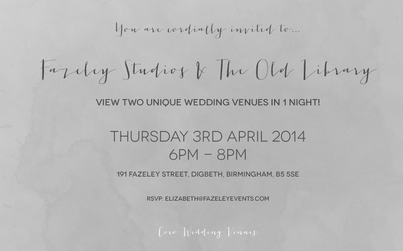 Coco Wedding Venues - Fazeley Studios & The Old Library Open Evening Invitation.