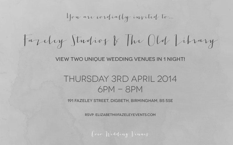 Coco Wedding Venues - Fazeley Studios & The Old Library Open Evening Invitation.