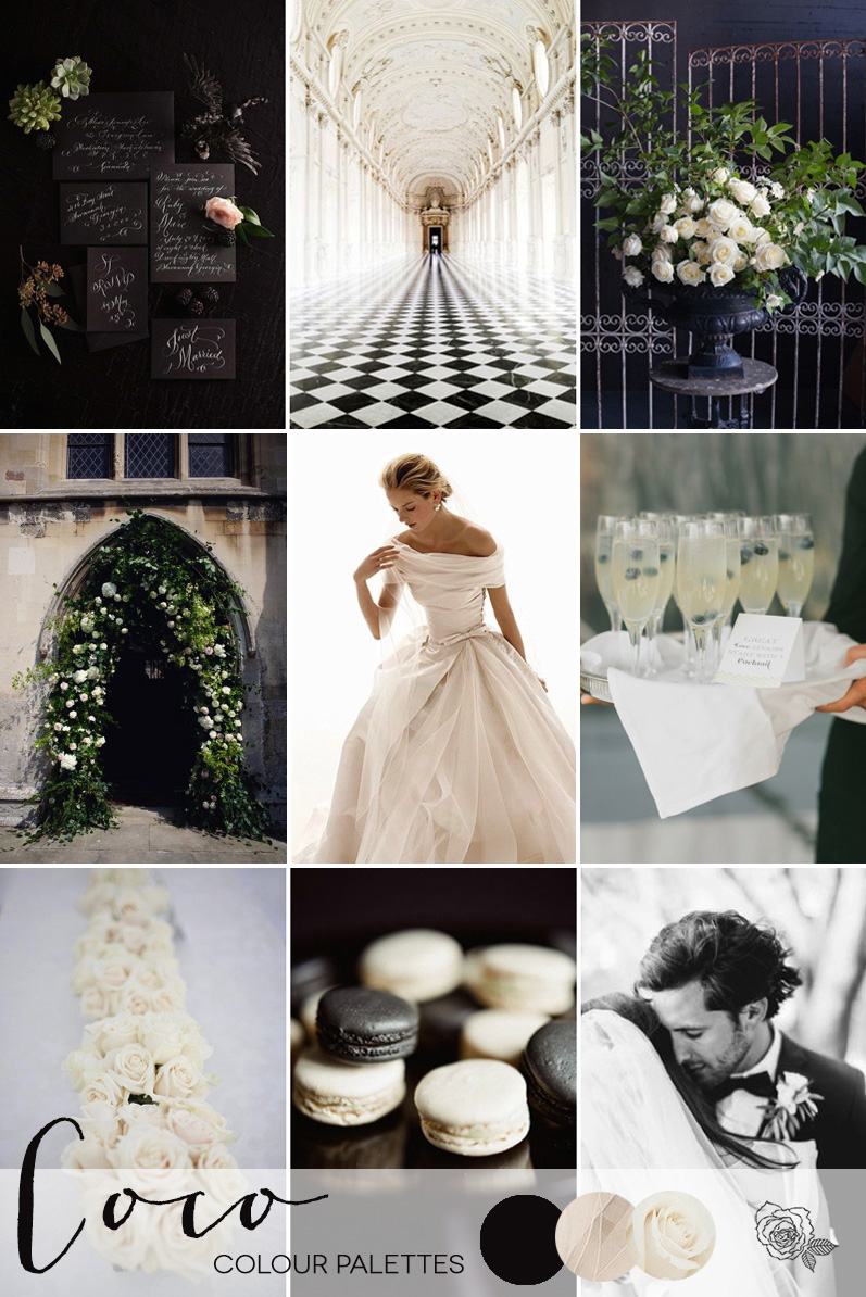 Coco Wedding Venues - Wedding Inspiration - Coco Colour Palette - A Black and White Affair - Colour Palette.