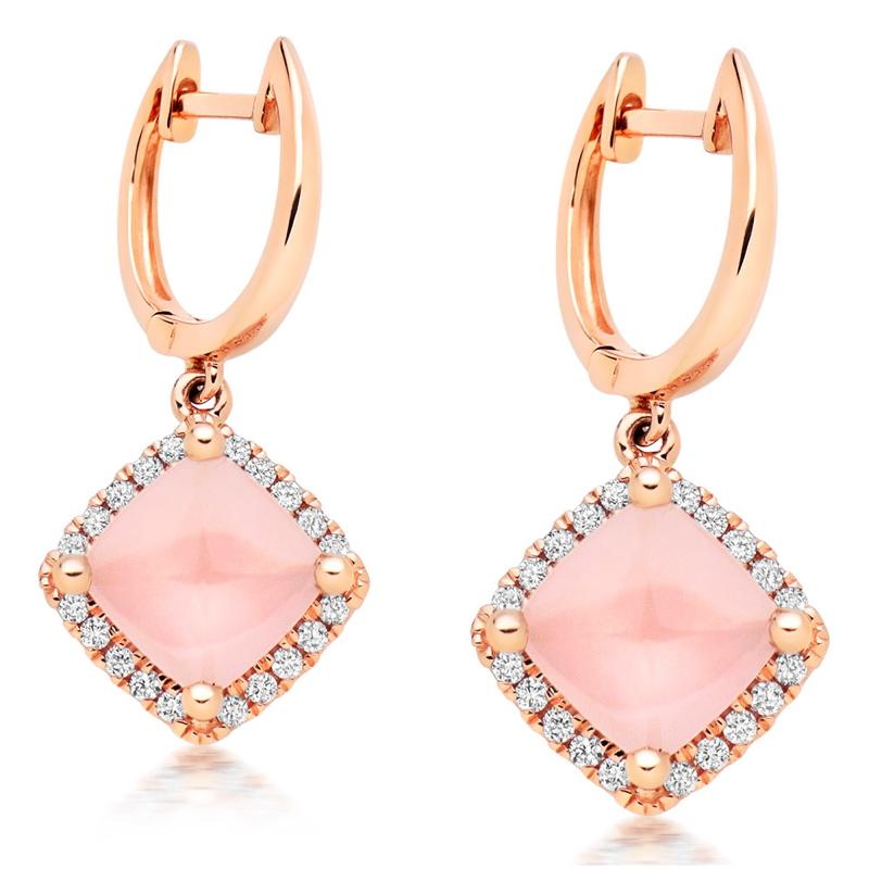 Rose Gold Diamond Quartz Earrings.