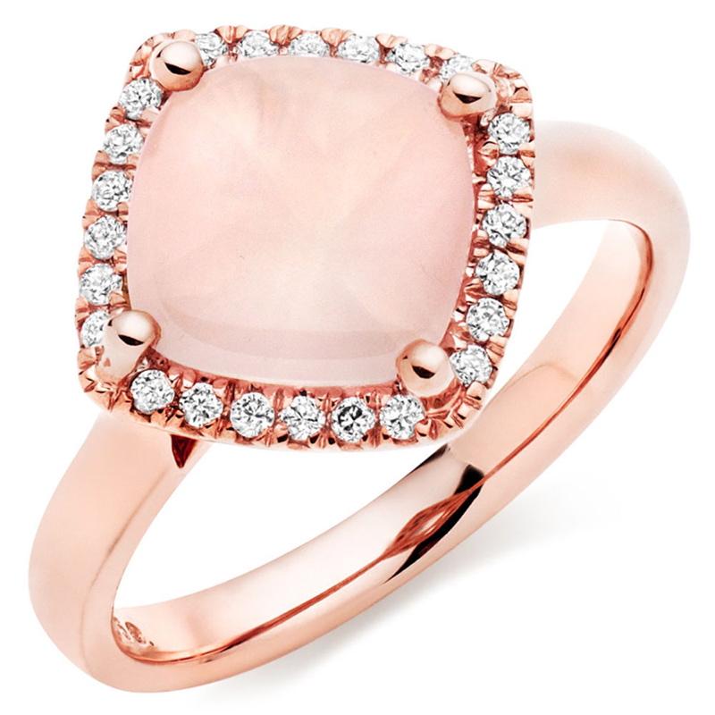 Rose Gold Diamond Quartz Pendant.
