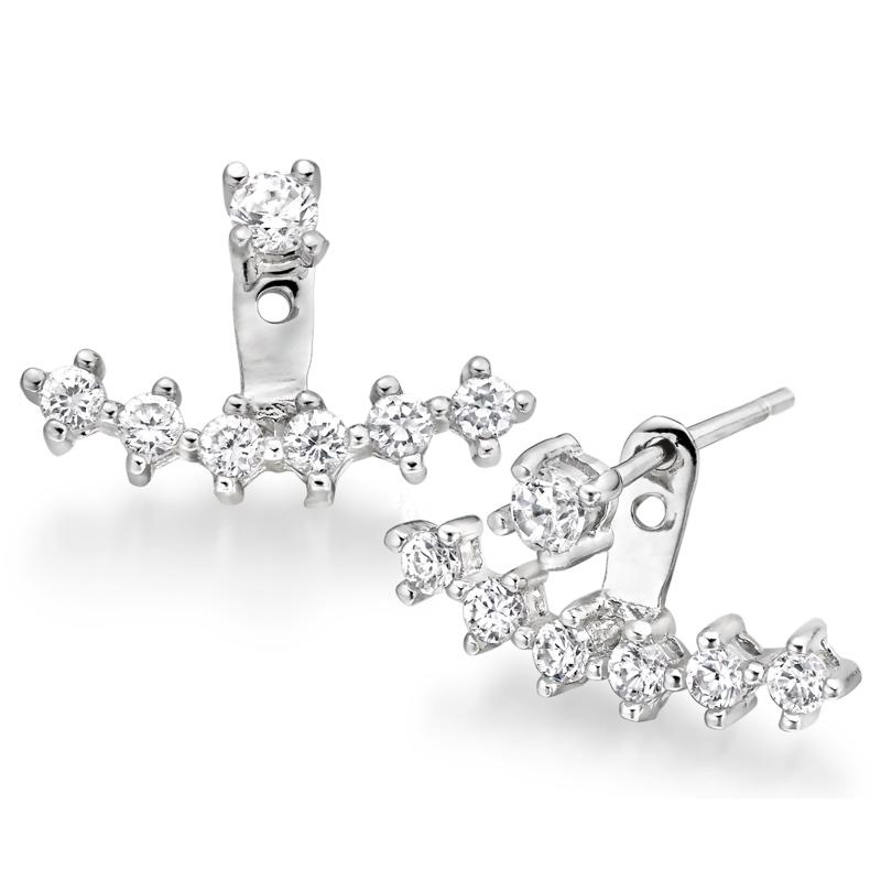 Silver Cubic Zirconia Earring Jackets.
