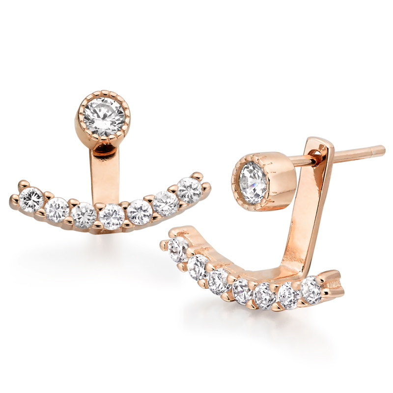 Silver Rose Gold Cubic Zirconia Earring Jackets.