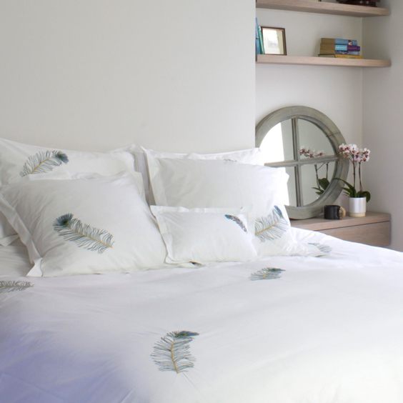 SARAHK Blue Peacock Feather Double Duvet Cover - £150.00
