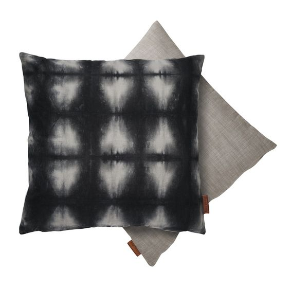 Cozy Living Cotton Cushion Tie Dye Grid, Black - £35.00