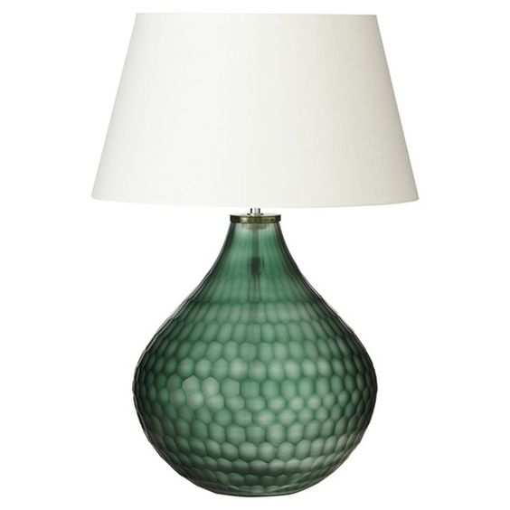 OKA Chateau Glass Table Lamp, Emerald - £320.00