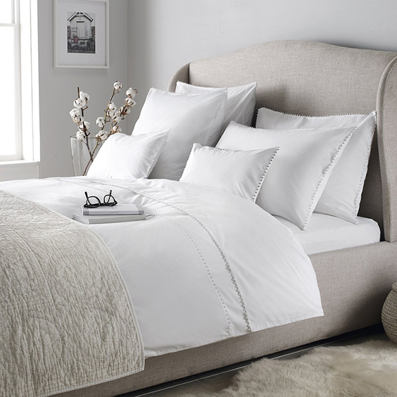 The White Company Avignon Duvet Cover, Superking, White - £75.00