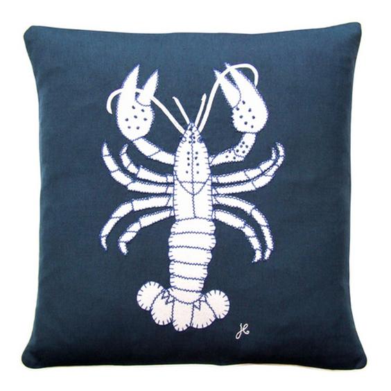 Jan Constantine Seaside Lobster Cushion 46cmx46cm Navy - £75.00