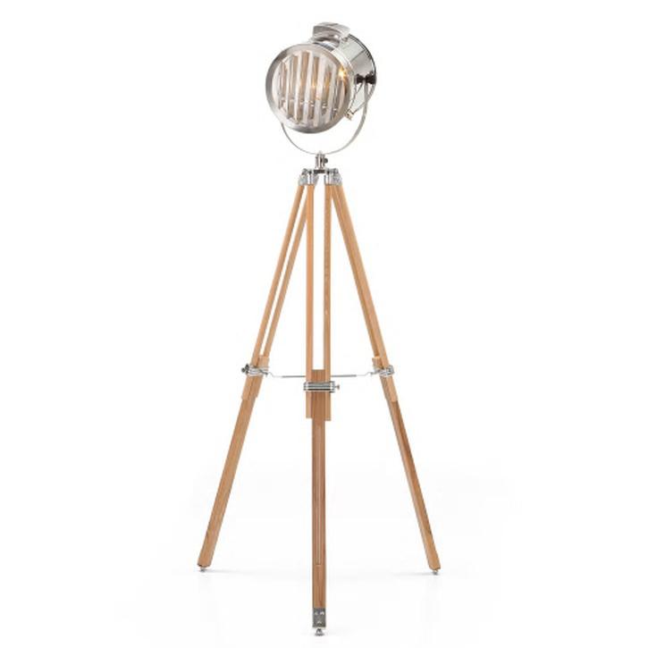 Made.com Alfred Tripod Floor Lamp; Natural Wood.