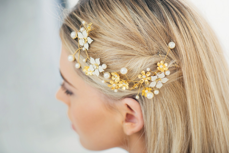 Brooke dainty hand-painted enamel flower crystal gold hair vine by Klaire Van Elton - £90.