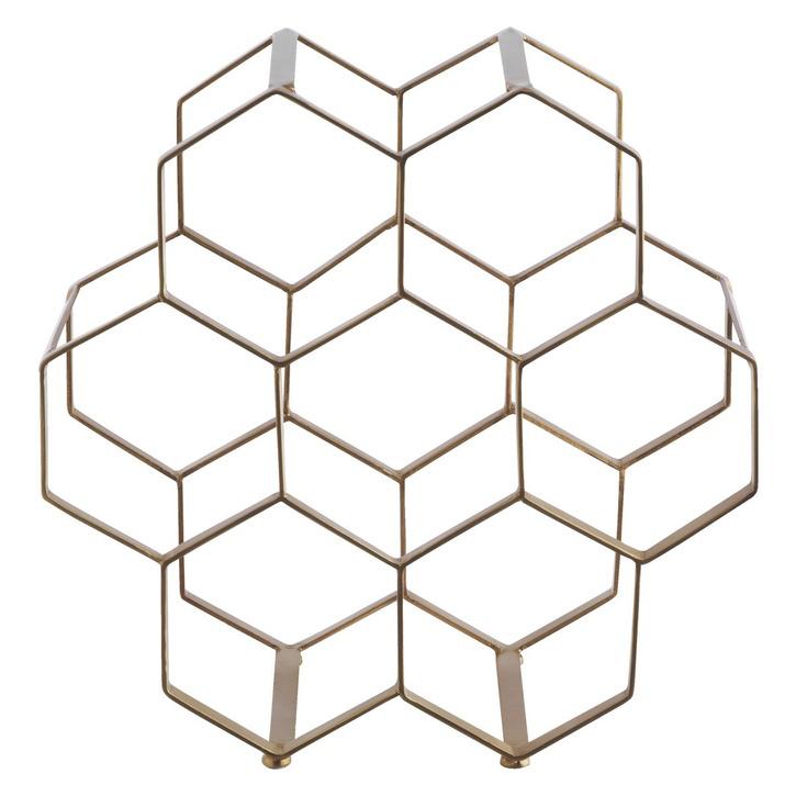 Habitat Honeycomb Gold Finish 7 Bottle Wine Rack.