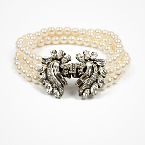 Pearl bracelet with rounded swirl crystal clusters by Ben-Amun - £170.