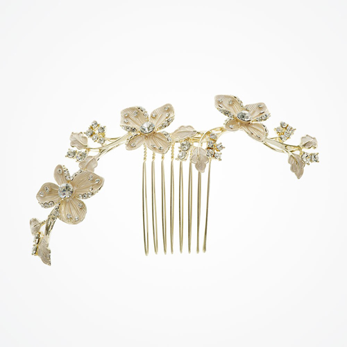 Buttercup golden line of flowers hair comb - £50.