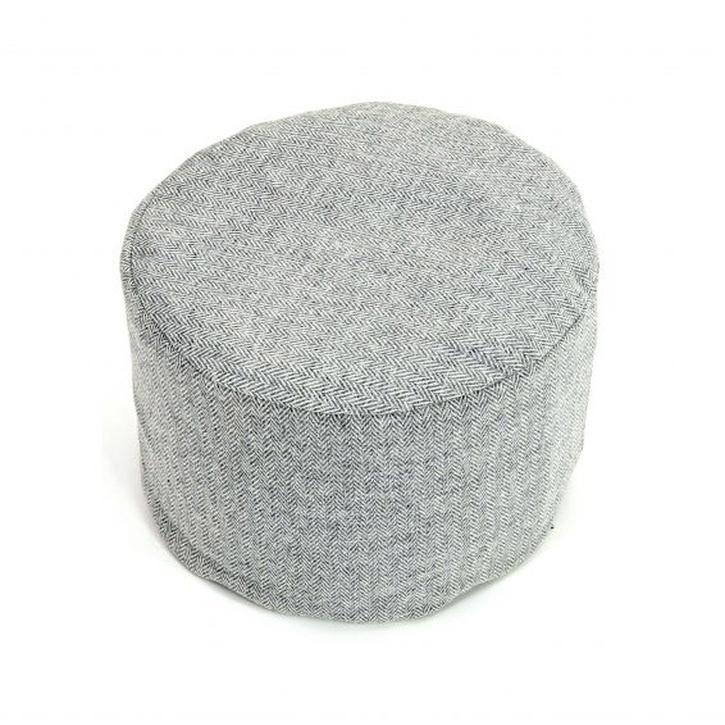 Tweedmill Pouffe, Herringbone Silver.