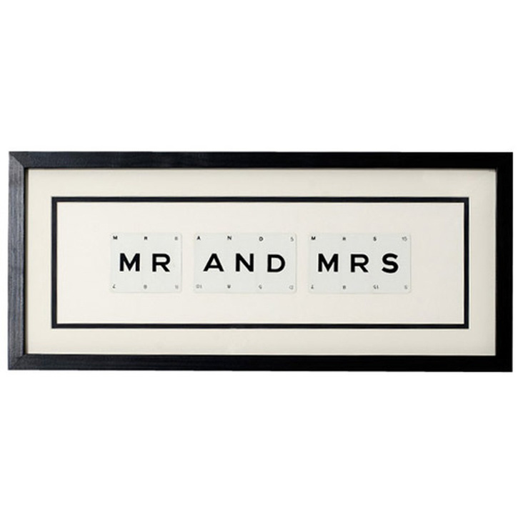 Vintage Playing Cards 'Mr & Mrs' Word Frame.