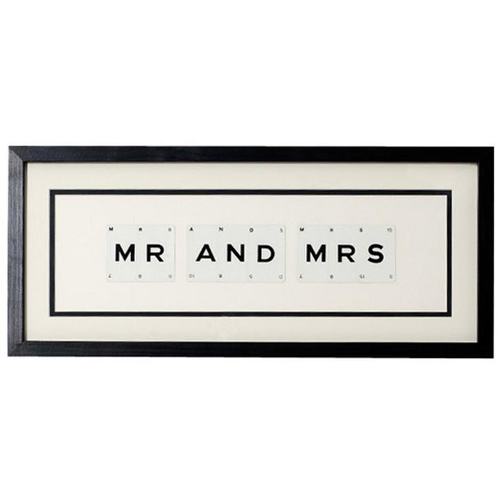 Vintage Playing Cards 'Mr & Mrs' Word Frame.