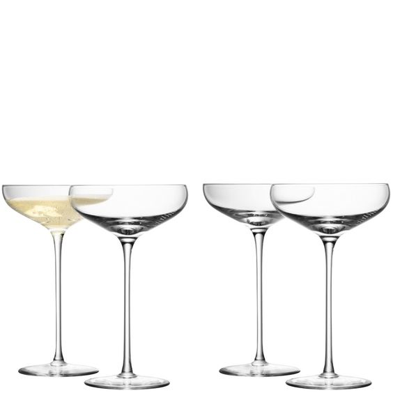 LSA set of 4 champagne saucers, £46.