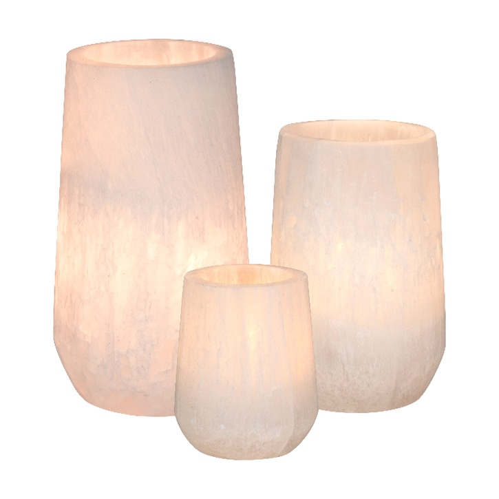 Cozy Living Ancient Moonstone Selenite Candle Holders, Set of 3 £70.00.