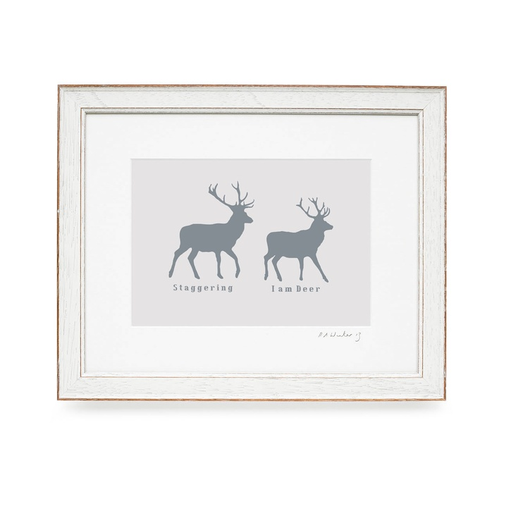 RawXclusive Deer Stag Collection Print and White Frame, 39cmx31.5cm £49.95.