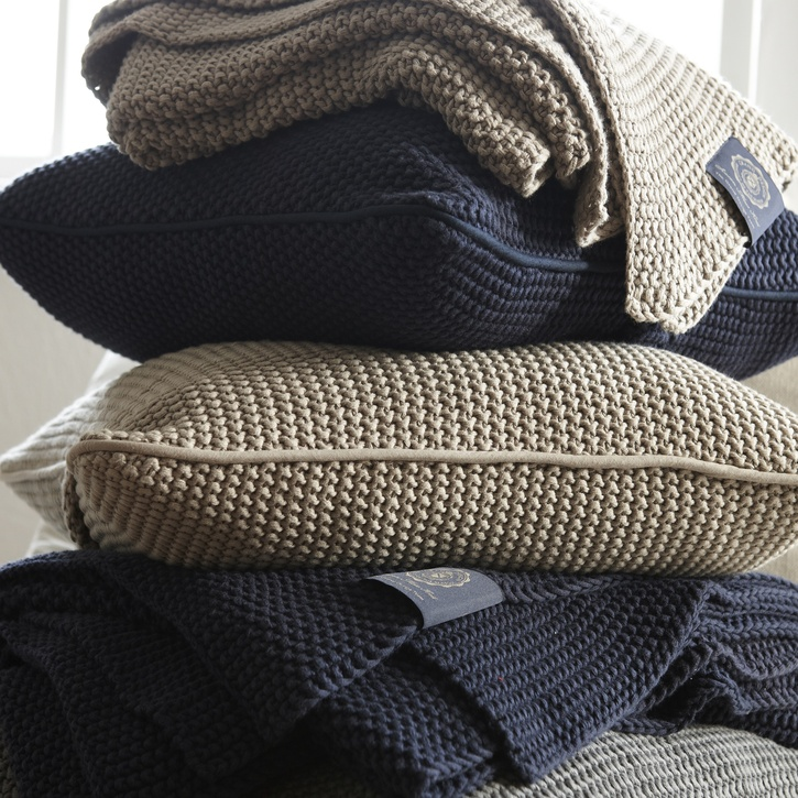 Grand Design Blue Label Moss Knit Throw, Sand £97.50.