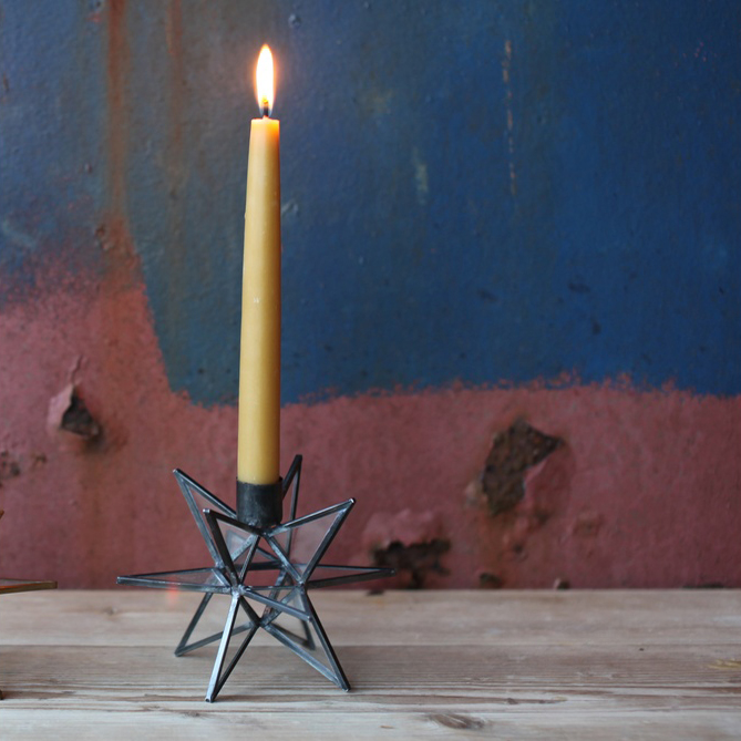 Nkuku Moba Star Candlestick, Antique Zinc £14.95.