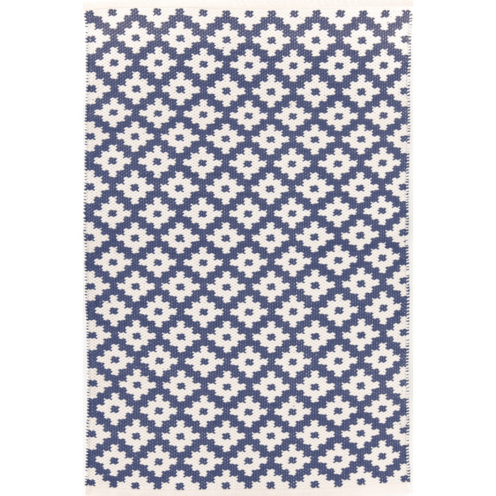 Dash & Albert Samode Polypropylene Indoor/Outdoor Rug, 3' x 5', Denim/Ivory - £121.00.