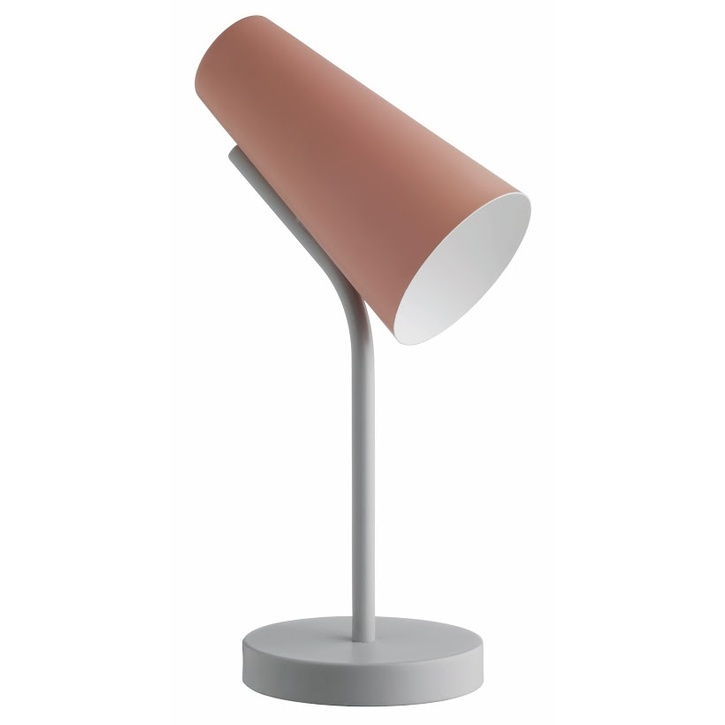 Habitat Rafi Dusty Pink And Grey Metal Desk Lamp - £25.00.