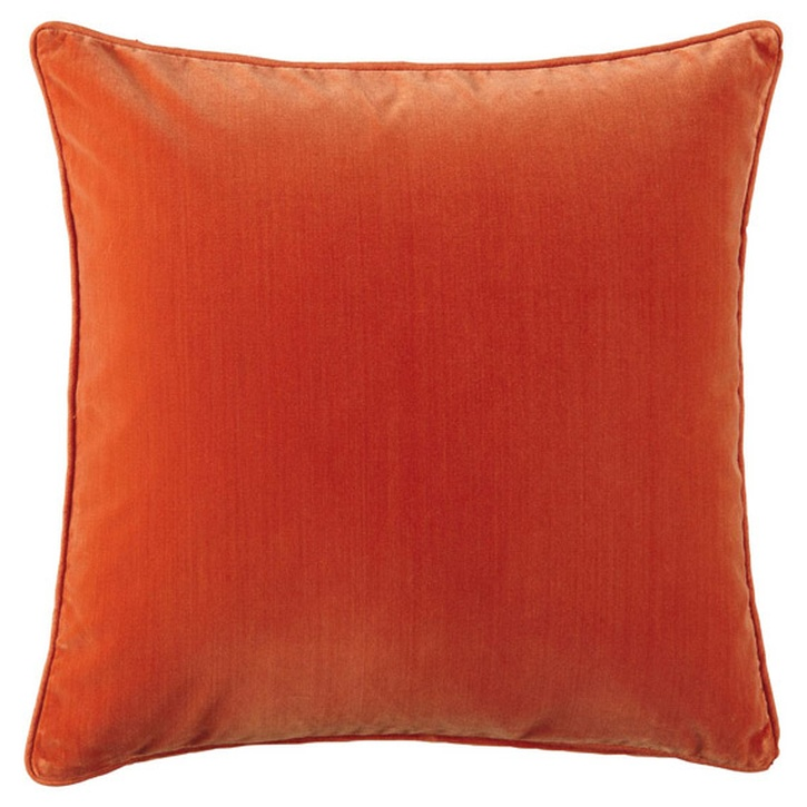 OKA Plain Velvet Cushion with Pad, Large, Burnt Orange - £62.00.