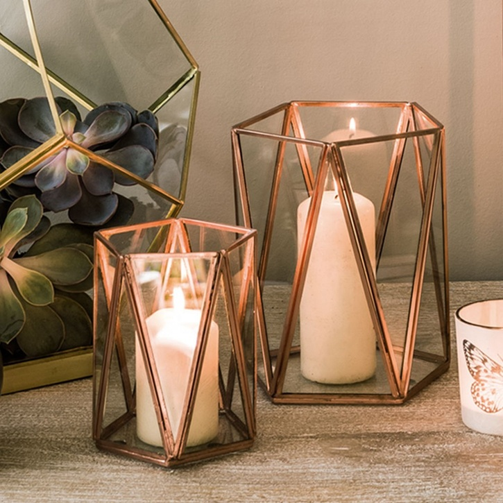 Graham & Green Copper Triangular Tea Light Holder, Large - £20.00.