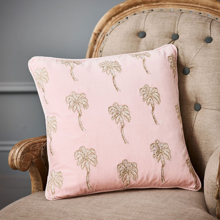 Palmier Rose Velvet Cushion