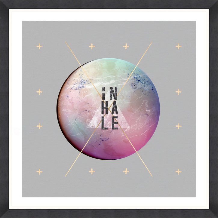 Inhale, Black Framed Print, 90 x 90cm