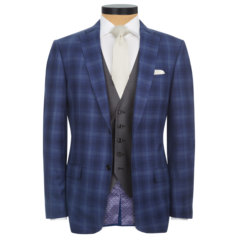 Blue Check 3 Piece Lounge Suit