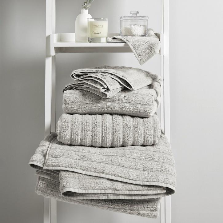Hydrocotton Ribbed Bath Sheet, Pearl Grey
