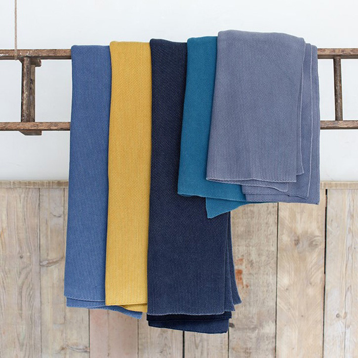 Makani Cotton Throw; Washed Blue