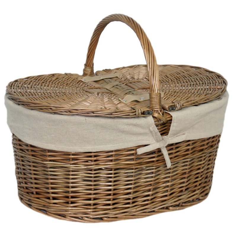Willow Deep Antique Wash Oval Picnic Basket