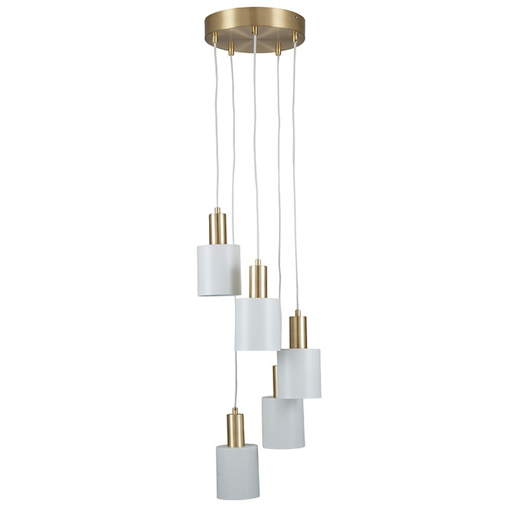 5 Drop Electrified Pendant; White & Brass