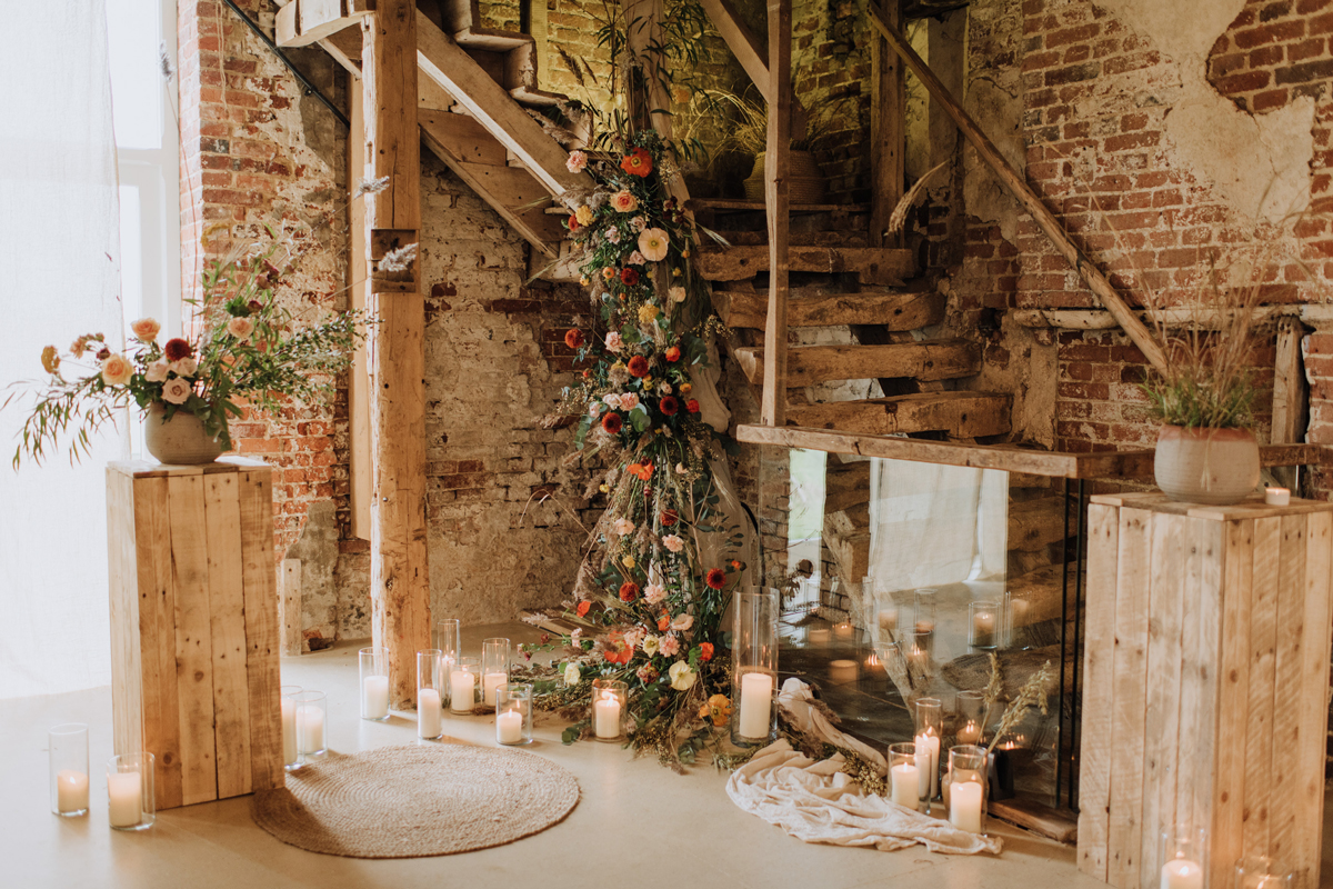 Polished Concrete at Godwick Great Barn - Interiors Wedding Inspiration