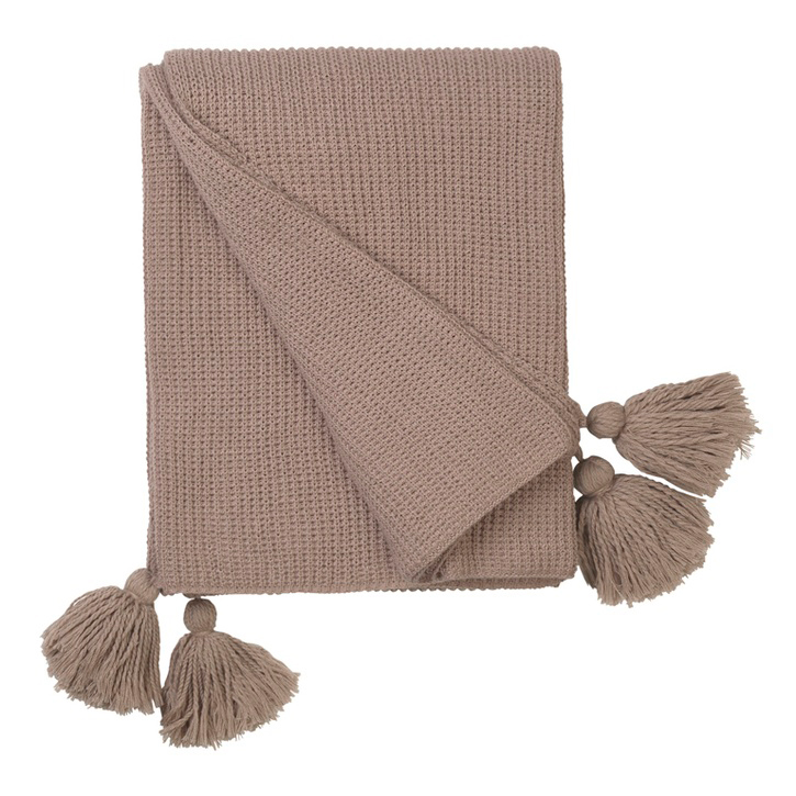 Cotton Knitted Throw w. Tassel; Magnolia