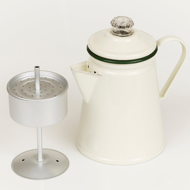 Enamel Coffee Percolator, Green Trim