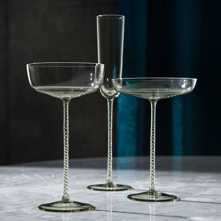 Champagne Theatre Set of 2 Saucers; Smoke Grey