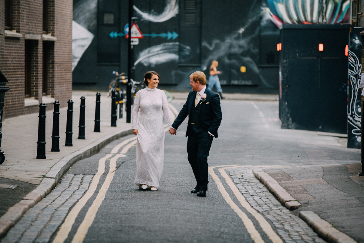 East London Wedding with Pizza and Mismatched Maids - Fee & Oli